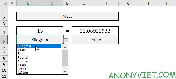 Bài 73: Cách chuyển đổi đơn vị từ Kg sang Ibs trong Excel