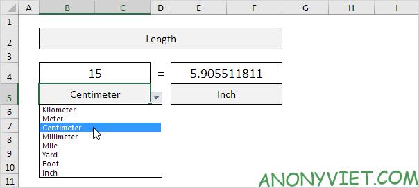 Bài 72: Cách chuyển đổi đơn vị từ cm sang inch trong Excel 36