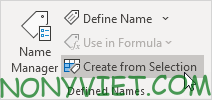 Chọn Create from Selection Excel
