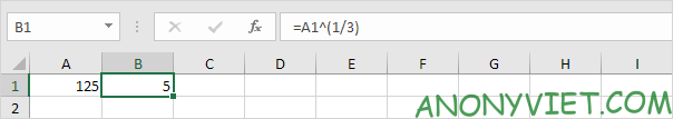 Căn bậc 3 Excel