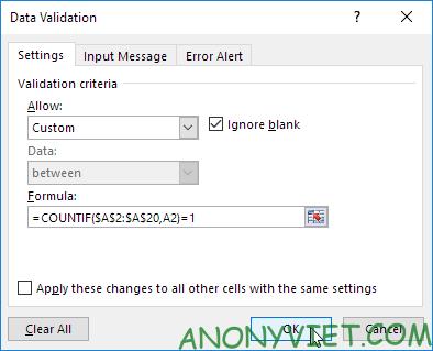 Bài 68: Thông báo khi người dùng nhập các giá trị trùng trong Excel 26