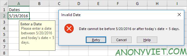 Bài 66: Cách không cho nhập ngày không hợp lệ trong Excel 33
