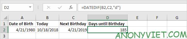 Bài 137: Tính ngày đến sinh nhật trong Excel 24