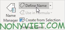 Chọn Define name Excel