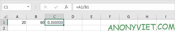 Phép chia 2 ô A1 và B1 Excel