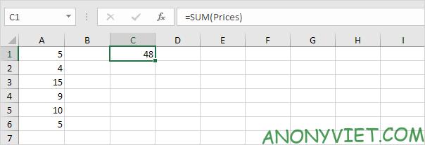 """Kết quả Kĩ thuật đặt tên """"động"""" Excel"""