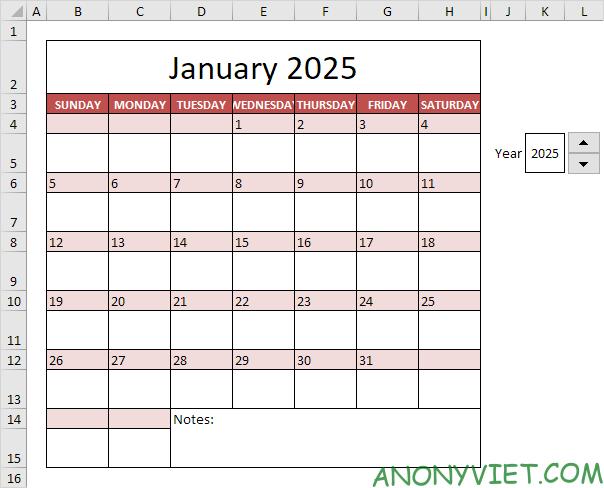 Bài 58: Cách tạo lịch trong Excel