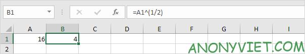 phép tính với mũ 1/2 Excel