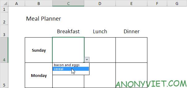 Bài 60: Cách Lập kế hoạch bữa ăn trong Excel 31