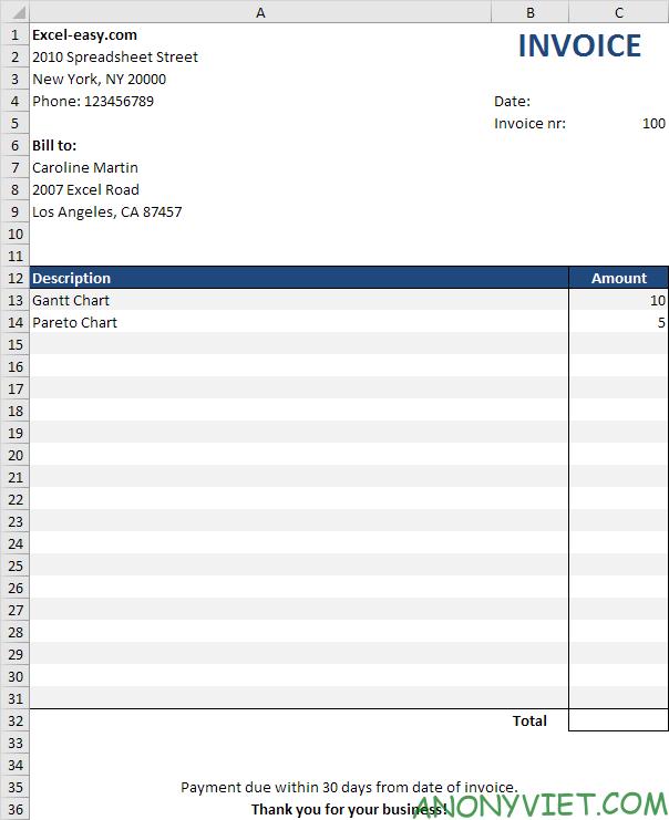 Bài 61: Cách tạo hóa đơn trong Excel 23