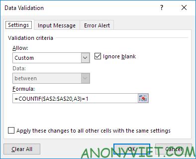 Bài 68: Thông báo khi người dùng nhập các giá trị trùng trong Excel 27