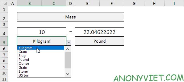 Bài 73: Cách chuyển đổi đơn vị từ Kg sang Lbs trong Excel 31