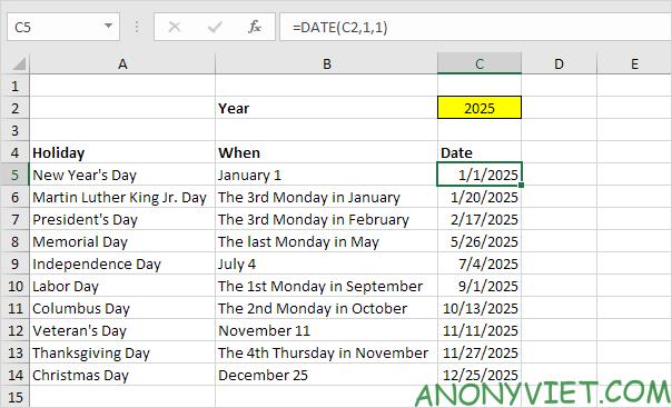 Bài 59: Cách tạo lịch ngày nghỉ trong Excel