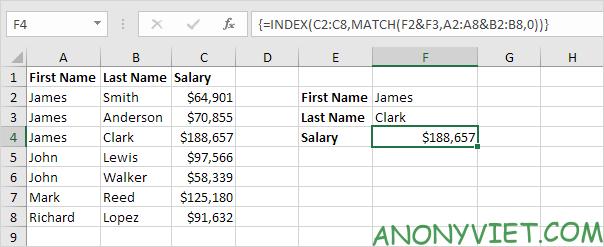 Bài 163: Tra cứu hai cột trong Excel 20