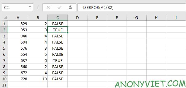 Bài 195: Cách sử dụng hàm IsError trong Excel