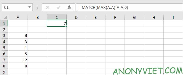 Bài 161: Tìm địa chỉ ô có giá trị lớn nhất trong Excel 19