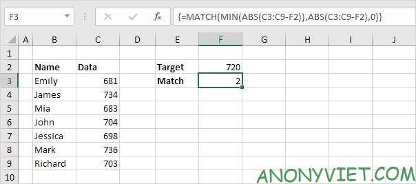 Bài 164: Tìm kết quả khớp nhất trong Excel 30