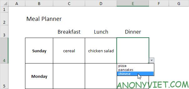 Bài 60: Cách lập kế hoạch bữa ăn trong Excel