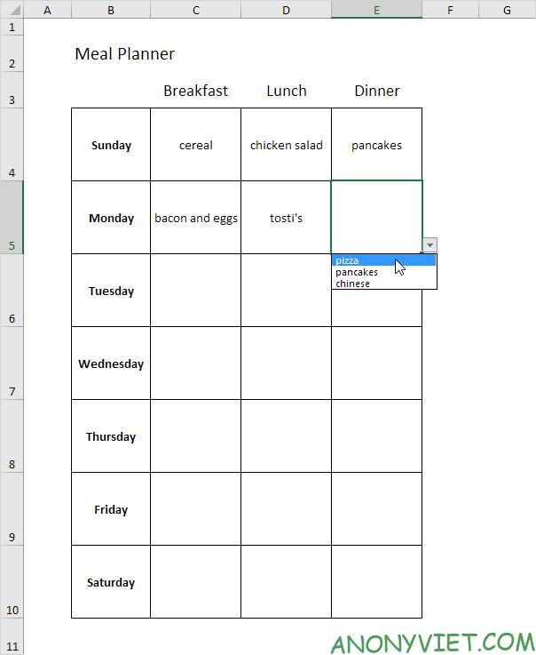 Bài 60: Cách Lập kế hoạch bữa ăn trong Excel 32