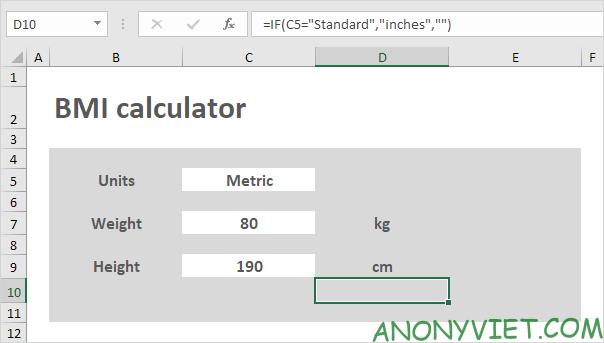 Bài 65: Cách tạo bảng tính BMI trong Excel 39