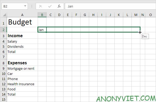 Bài 57: Cách tạo Bảng Chi tiêu ngân sách trong Excel 28