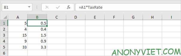 Ví dụ sử dụng biến Excel