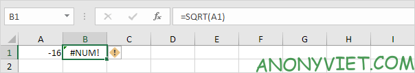Trả về giá trị Error Excel