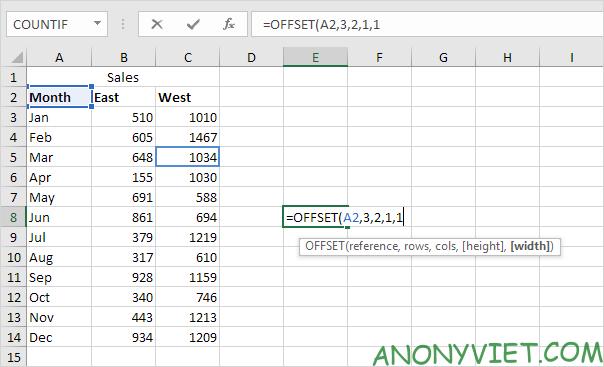 Bài 158: Cách sử dụng hàm Offset trong Excel