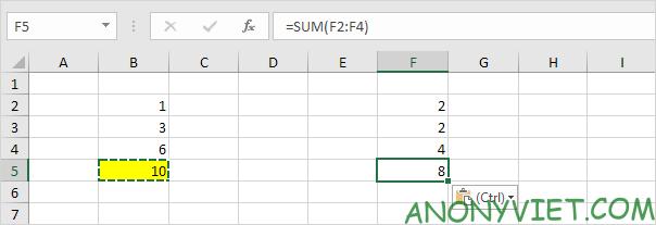 Kết quả Paste Formulas Excel