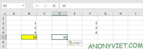Kết quả Paste Giá trị Excel