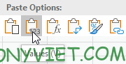 Paste giá trị Excel