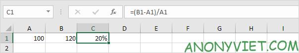 Kết quả phần trăm thay đổi Excel