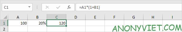 Tăng 20% Excel