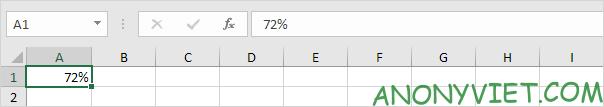 Kết quả hiển thị dưới dạng phần trăm Excel