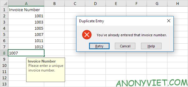 Bài 68: Thông báo khi người dùng nhập các giá trị trùng trong Excel 28