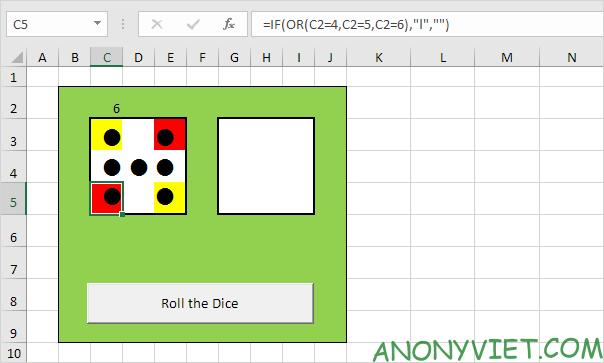 Bài 116: Cách tạo xúc xắc trong Excel 34