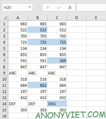 Bài 54: Cách Đánh dấu các ô khác nhau trong 1 hàng Excel 36