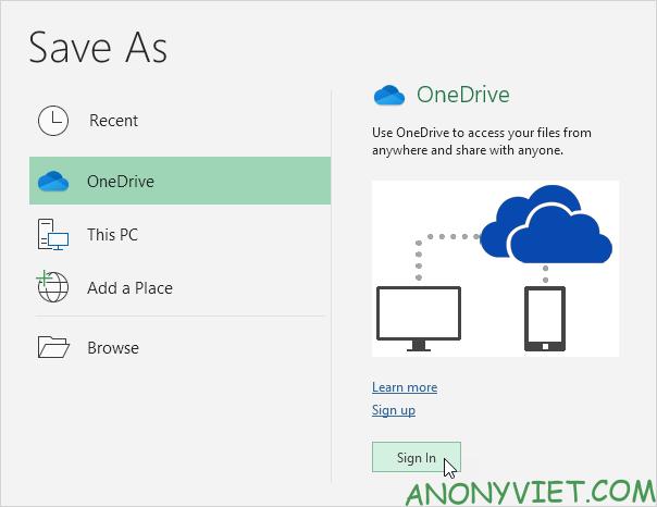 Bài 93: Cách lưu file Excel vào Onedrive