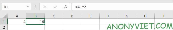 Phép tính mũ 2 Excel