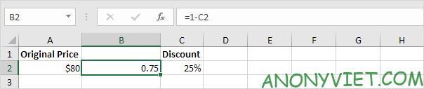 Trừ Số phần trăm với 1 Excel
