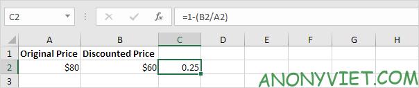 Trừ nó với 1 Excel Phần Trăm