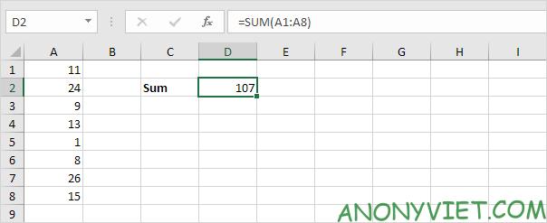 Bài 109: Cách sử dụng hàm SUM trong Excel