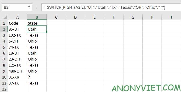Bài 119: Cách sử dụng hàm SWITCH trong Excel 19