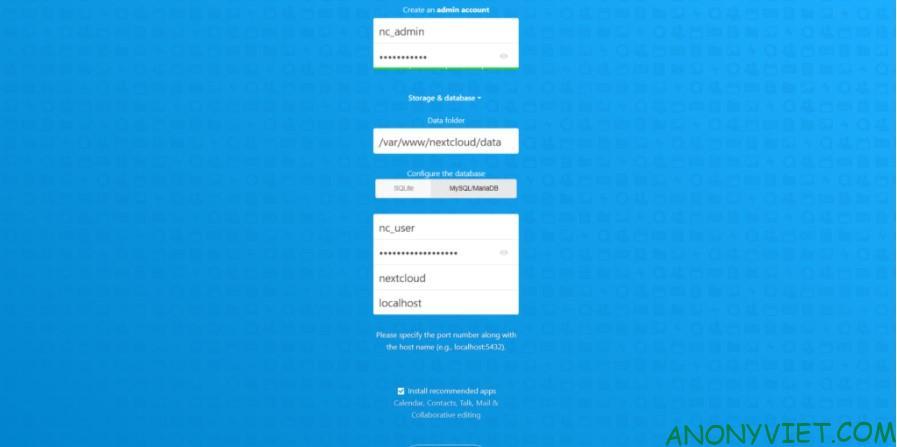 Tạo NextCloud admin account