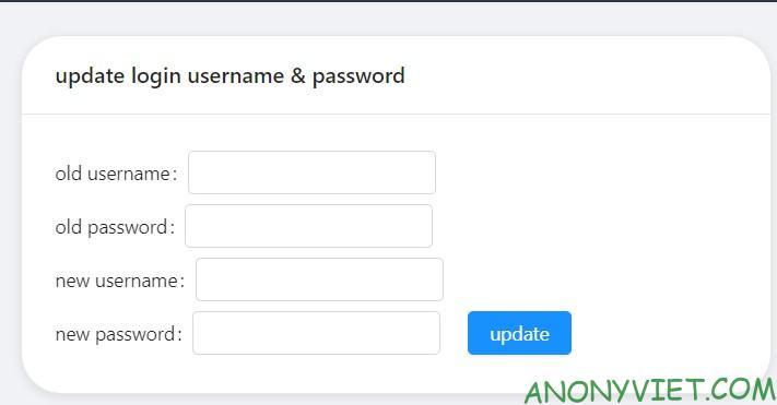 Đổi tài khoản và mật khẩu của panel