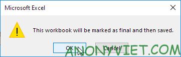 Bài 103: Cách sử dụng Mark as Final để thông báo phiên bản cuối cùng trong Excel 19
