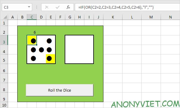 Bài 116: Cách tạo xúc xắc trong Excel 33