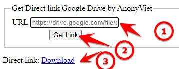 Get Direct link Google Drive by AnonyViet