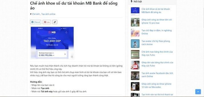 tạo ảnh số dư tài khoản MB Bank