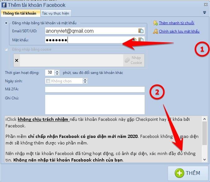 Thêm tài khoản Facebook